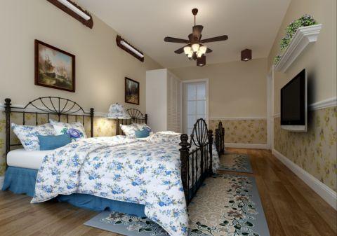 卧室背景墙田园风格装修图片