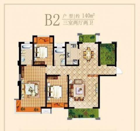 溪岸观邸现代三居室效果图