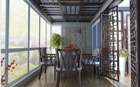 阳台背景墙新中式风格装潢图片