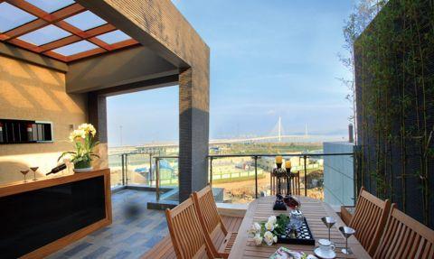 阳台背景墙美式风格装饰图片