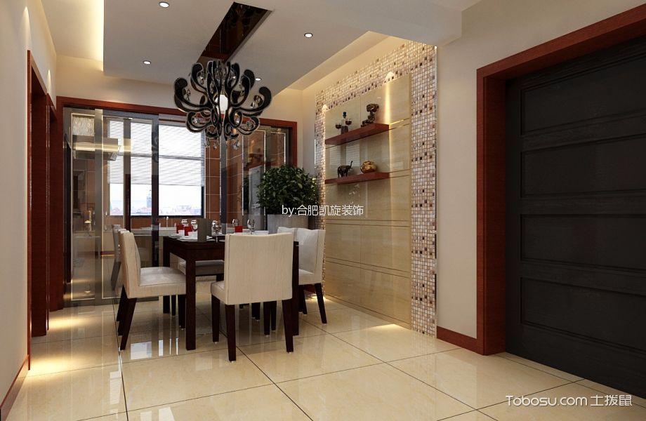 餐厅白色推拉门简欧风格装修设计图片