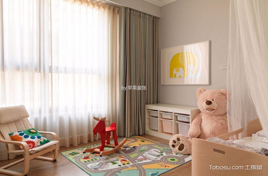儿童房白色窗帘美式风格装饰设计图片