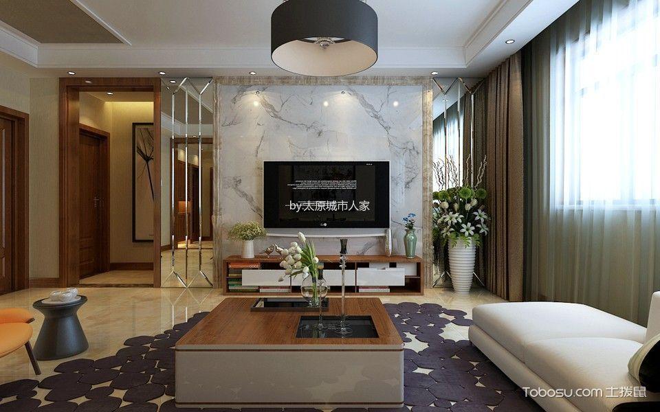 客厅 背景墙_4万预算140平米三室两厅装修效果图