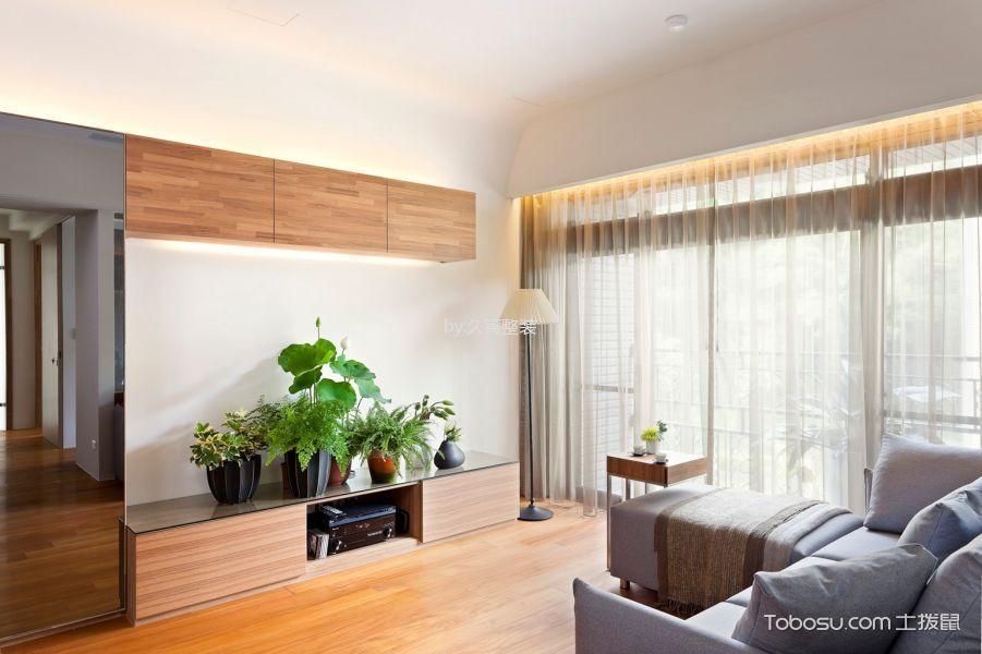 客厅米色窗帘北欧风格装潢设计图片