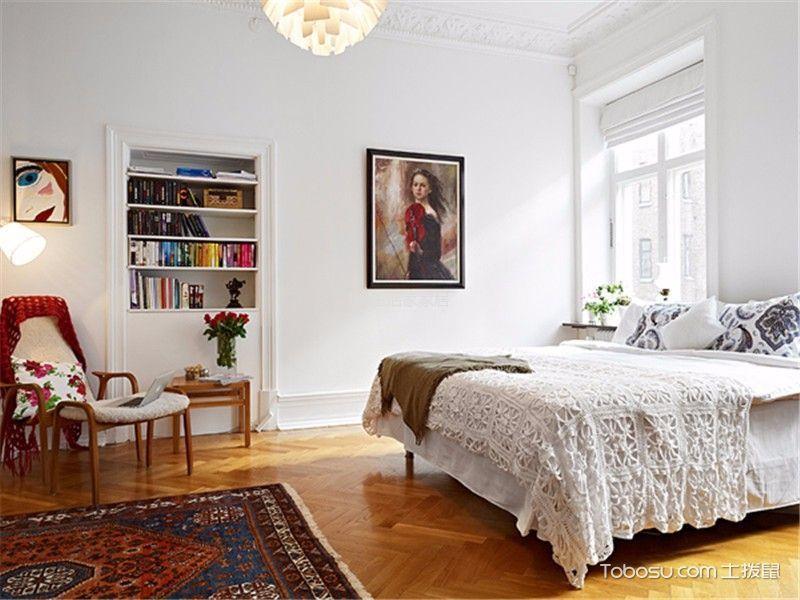 卧室白色背景墙北欧风格装修设计图片