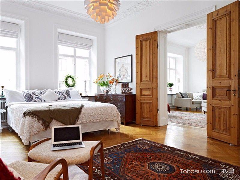 卧室黄色背景墙北欧风格装饰设计图片