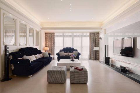 理想银泰城新古典风格三居室装修效果图