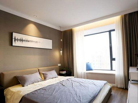 卧室灰色背景墙简约风格装修设计图片