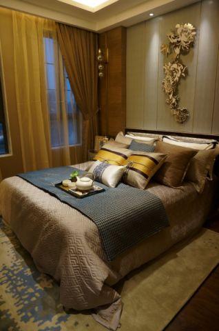 卧室背景墙新中式风格装潢效果图