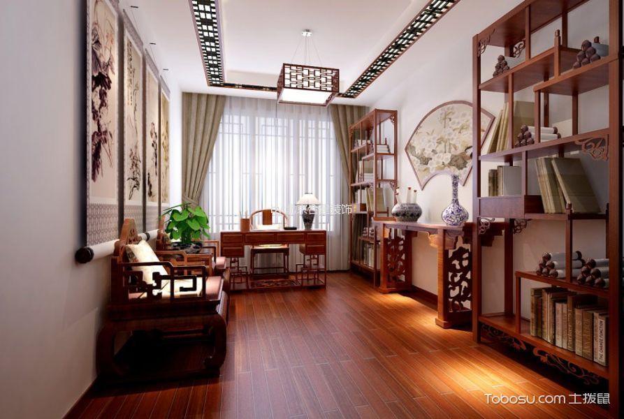 书房红色博古架新中式风格装潢图片