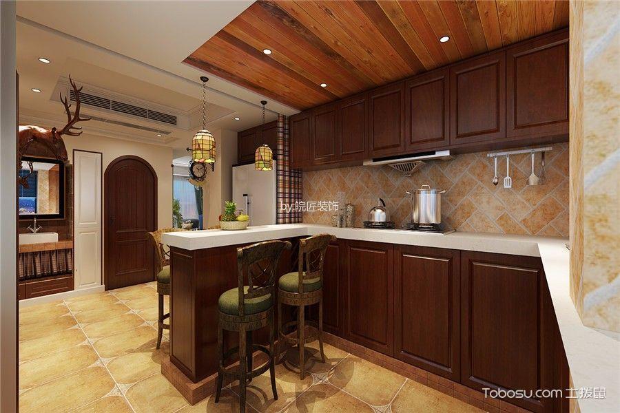 厨房咖啡色吊顶混搭风格装饰图片