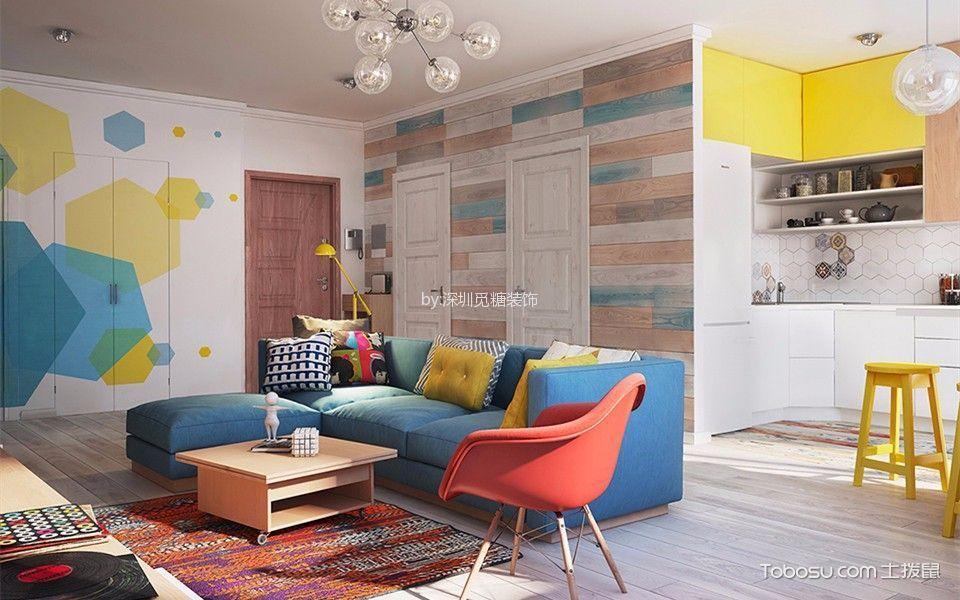 客厅彩色隐形门混搭风格装饰图片