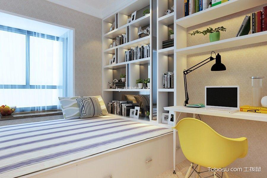 卧室白色书架现代简约风格装修设计图片
