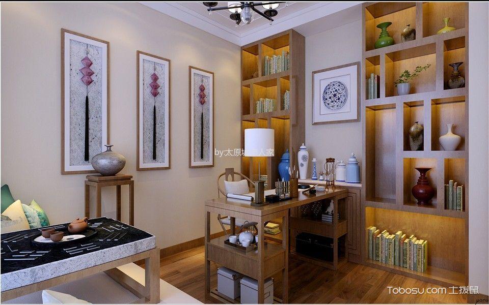 书房咖啡色博古架新中式风格装饰设计图片