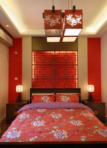 卧室背景墙新中式风格装修图片