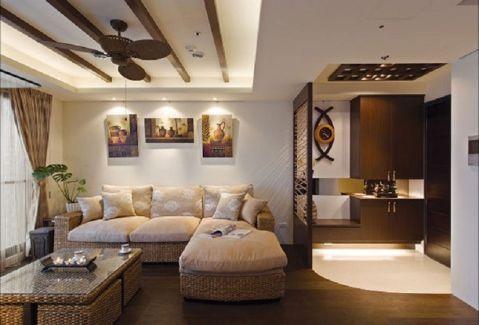 东南亚风格120平米三房两厅新房装修效果图