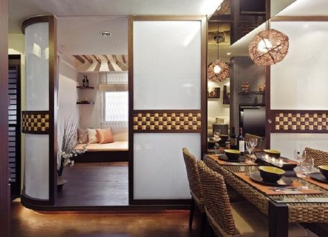 卧室推拉门东南亚风格装修设计图片