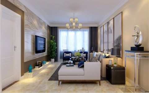 客厅背景墙新中式风格装潢效果图
