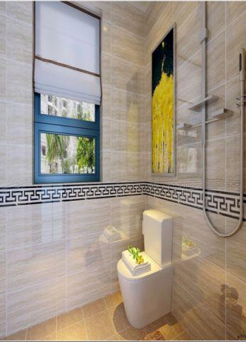 卫生间窗帘新中式风格装饰设计图片