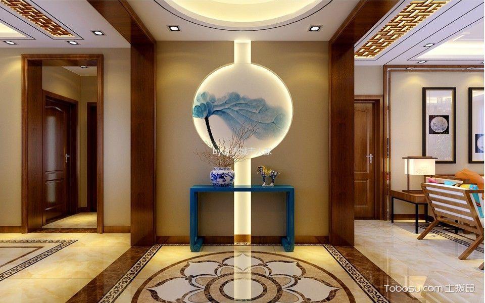 玄关黄色门厅新中式风格装潢设计图片