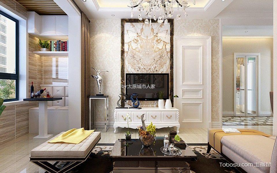 客厅米色背景墙简欧风格装潢效果图