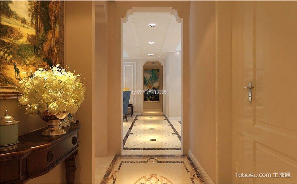 玄关黄色背景墙美式风格装修设计图片