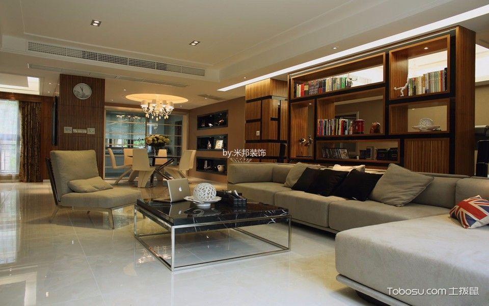 客厅咖啡色书架现代风格装潢效果图