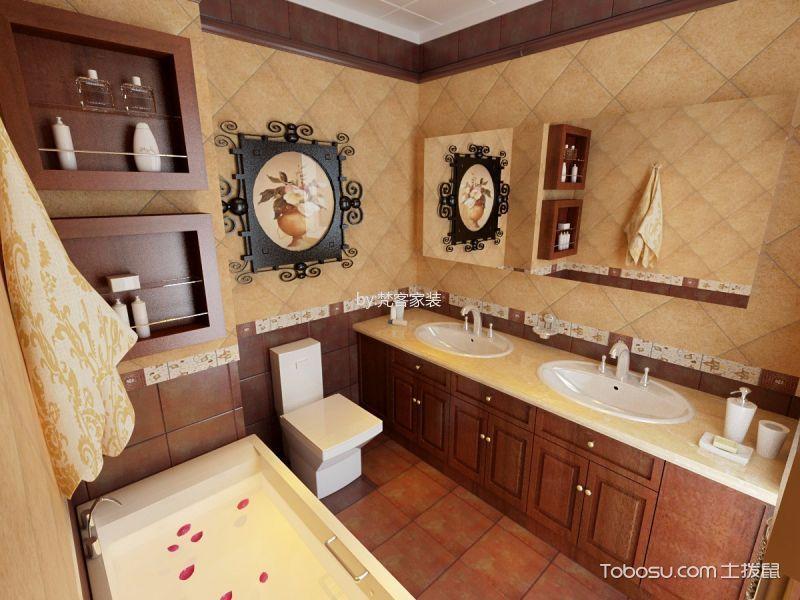 浴室咖啡色背景墙美式风格装修图片