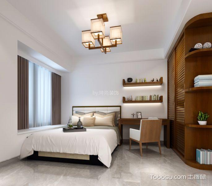卧室咖啡色书桌中式风格装饰效果图