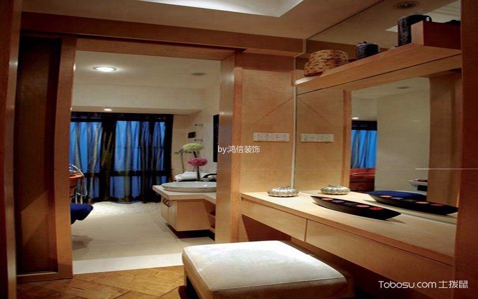卫生间白色洗漱台东南亚风格装饰效果图