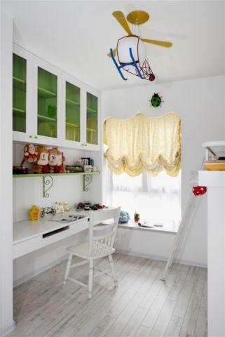 书房黄色窗帘混搭风格装潢效果图