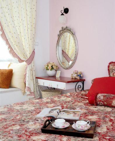 卧室米色窗帘混搭风格装饰图片