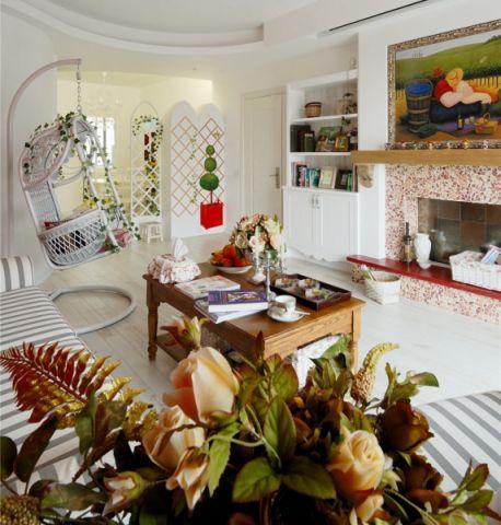 客厅咖啡色茶几混搭风格装潢设计图片