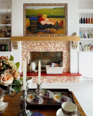 客厅白色背景墙混搭风格效果图