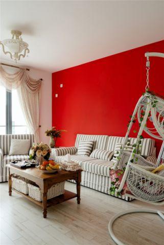客厅红色背景墙混搭风格装修效果图