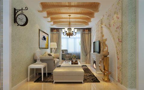 客厅黄色吊顶田园风格装修设计图片