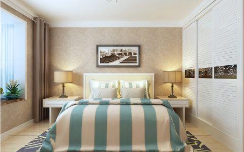 卧室咖啡色窗帘田园风格装饰效果图