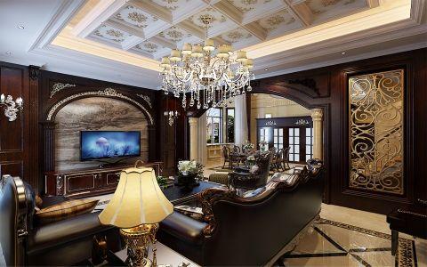 客厅背景墙古典风格装饰设计图片