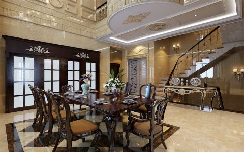 餐厅背景墙古典风格效果图
