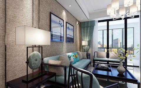 客厅米色背景墙新中式风格效果图