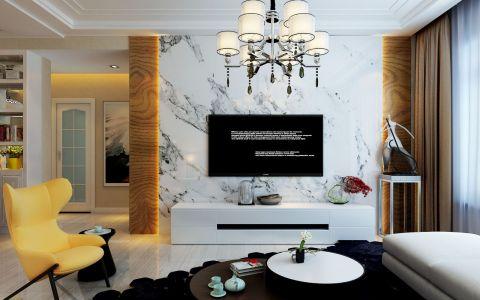 客厅白色背景墙现代简约风格装潢图片