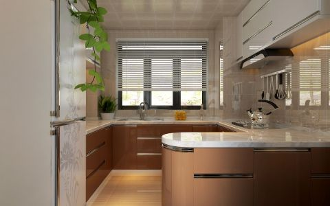 厨房白色窗帘现代简约风格装潢设计图片