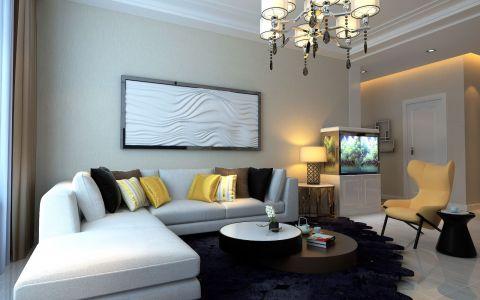 客厅白色沙发现代简约风格效果图