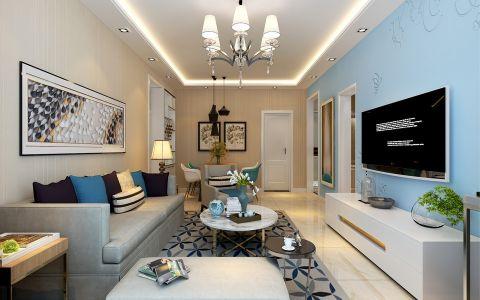 客厅蓝色背景墙现代简约风格装饰效果图