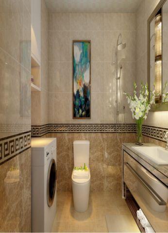 卫生间黄色背景墙现代简约风格装饰设计图片