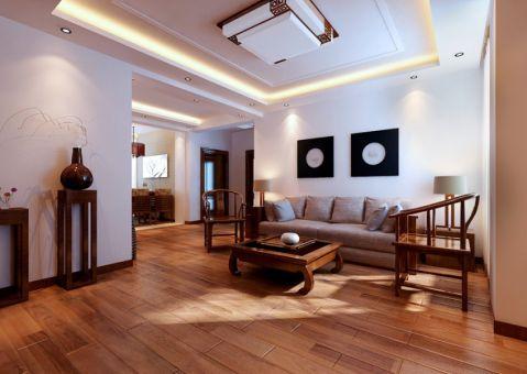 客厅白色背景墙简中风格装饰设计图片