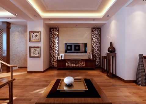客厅黄色背景墙简中风格装潢设计图片