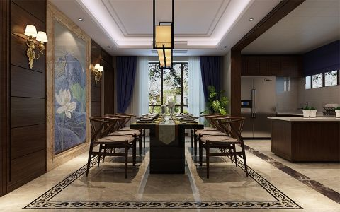 餐厅窗帘新中式风格装修图片