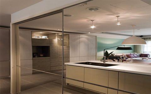 厨房白色厨房岛台简约风格装潢设计图片