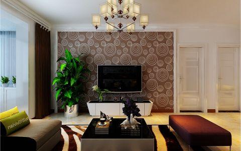 客厅咖啡色背景墙现代简约风格装修图片